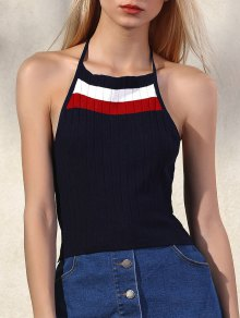 Striped Halter Cropped Tank Top