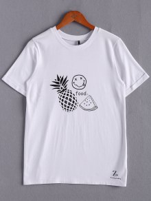 T-shirt Blanc à Broderies De Fruits - Blanc