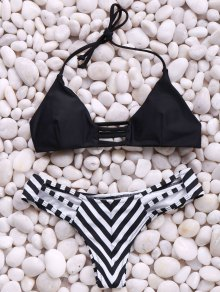 Stripes Spaghetti Straps Bikini Set