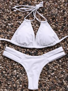 Solid Color Spaghetti Straps Bandage Bikini Set - White