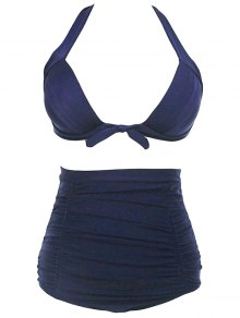 Gathered Solid Color Halter High Waist Bikini Set - Deep Blue