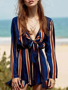 Tie-Front Striped Romper