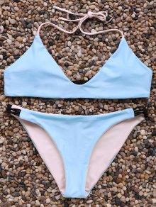 Halter Neck Contrast Bikini Set - Ice Blue