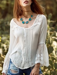 White Lace Splicing Round Neck Flare Sleeve Blouse - White S