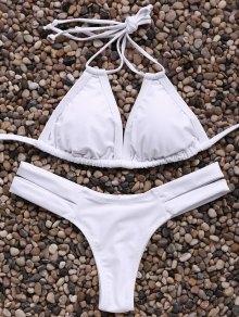Solid Color Spaghetti Straps Bandage Bikini Set - White L