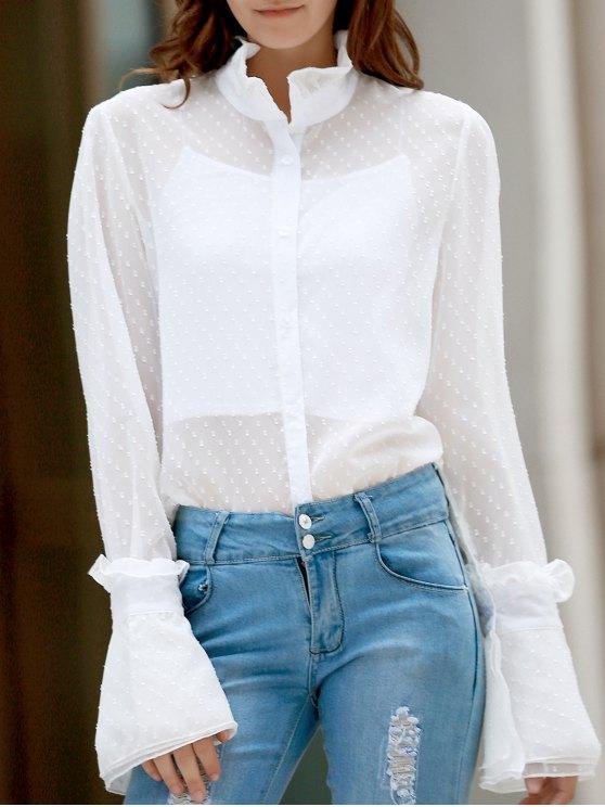 Escote con volantes Ver-Por la camisa punteada - Blanco XL