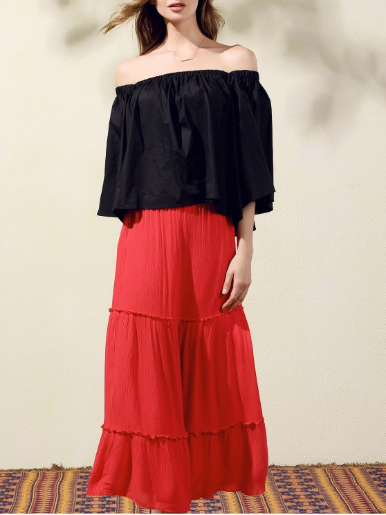 Off-The-Hombro Camisa corta - Negro Un tamaño(Montar tam