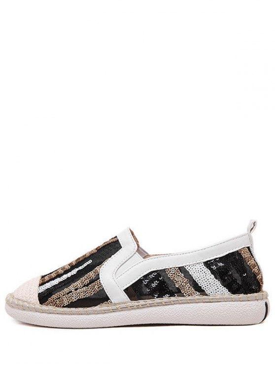 Color Block Weaving Sequins Flat Shoes - WHITE 37 Mobile