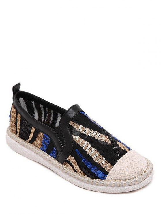 Zapatos del bloque del color que teje de las lentejuelas planas - Negro 40