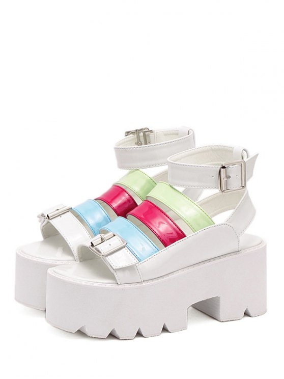 Buckle Color Block Platform Sandals - WHITE 37 Mobile