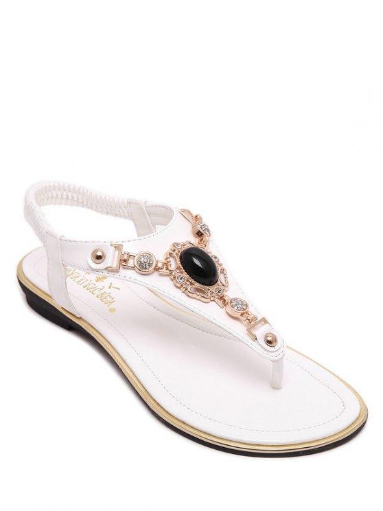 Faux Gem talón sandalias planas elásticas - Blanco 38