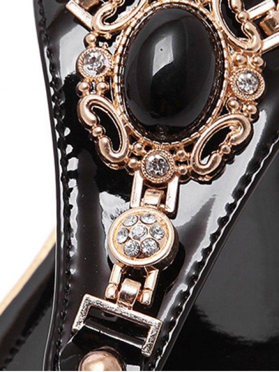 Faux Gem Flat Heel Elastic Sandals - BLACK 37 Mobile
