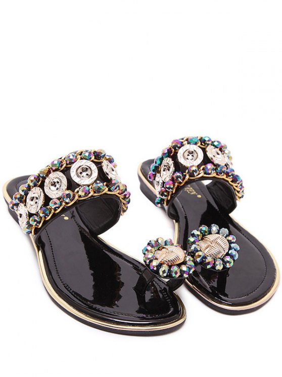 Toe Ring Metal Rhinestone Slippers - BLACK 37 Mobile