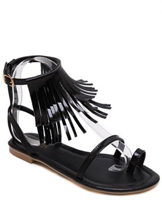 Sandalias de tacón de color de la franja plana y sólida - Negro 38