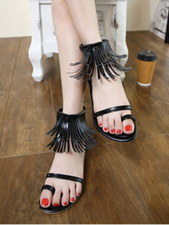 Solid Color Fringe Flat Heel Sandals - BLACK 38 Mobile