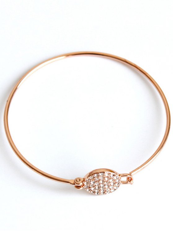 Rhinestone Round Alloy Bracelet - ROSE GOLD  Mobile