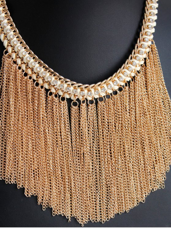 Alloy Chunky Tassels Statement Necklace - GOLDEN  Mobile