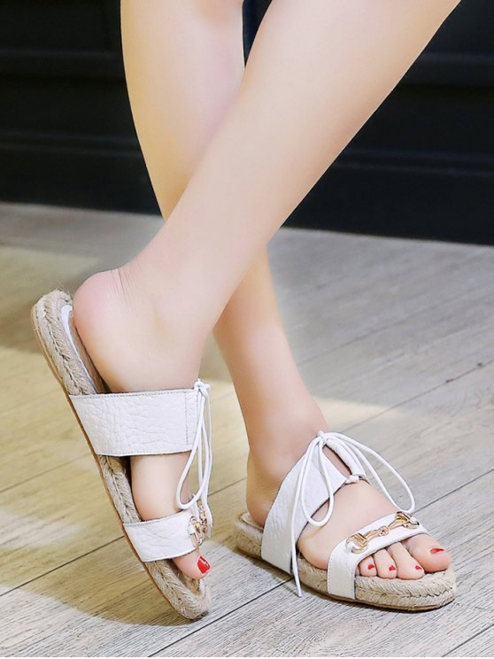Weaving Metal Lace-Up Sandals - WHITE 37 Mobile