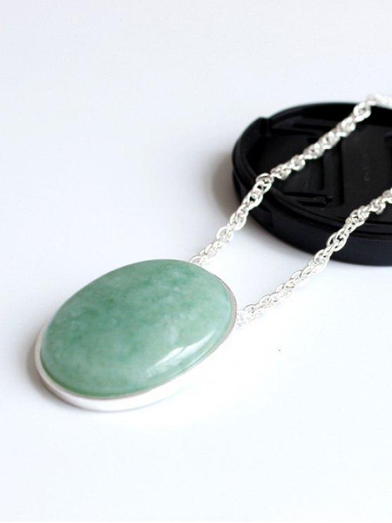 Elliptical Faux Jade Long Necklace - SILVER  Mobile