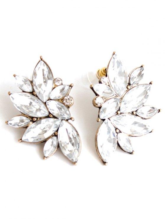 shops Rhinestone Stud Earrings - WHITE