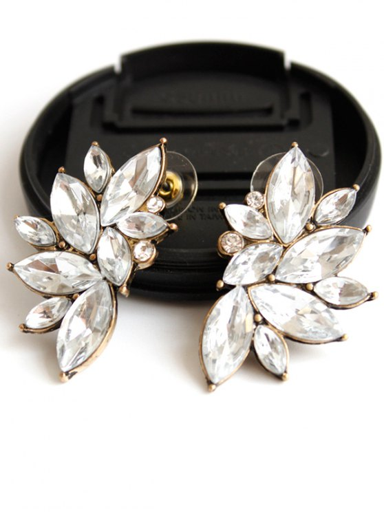 Rhinestone Stud Earrings - WHITE  Mobile