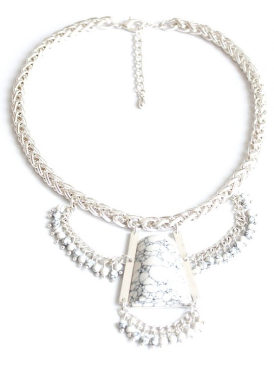 ladies Stone Hollow Out Out Pendant Necklace - SILVER