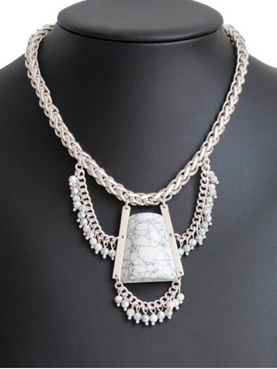 Stone Hollow Out Out Pendant Necklace - SILVER  Mobile