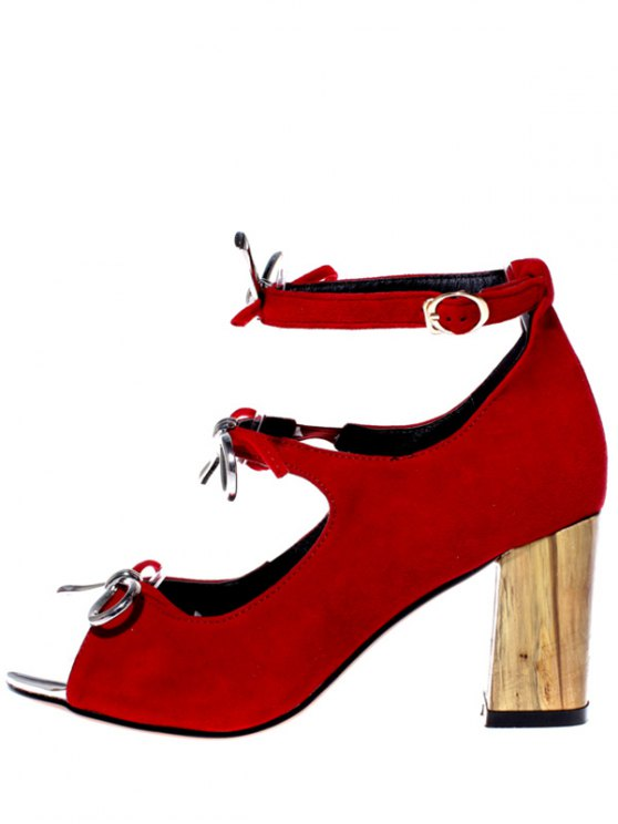 Peep Toe Bowknot Chunky Heel Sandals - RED 37 Mobile