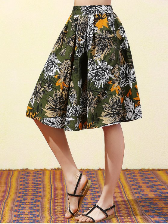 Full Floral High Waist Skirt - BLACKISH GREEN L Mobile