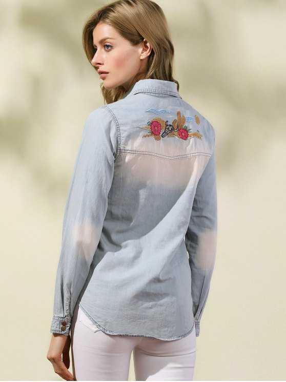 outfit Embroidered Denim Overshirt - LIGHT BLUE M