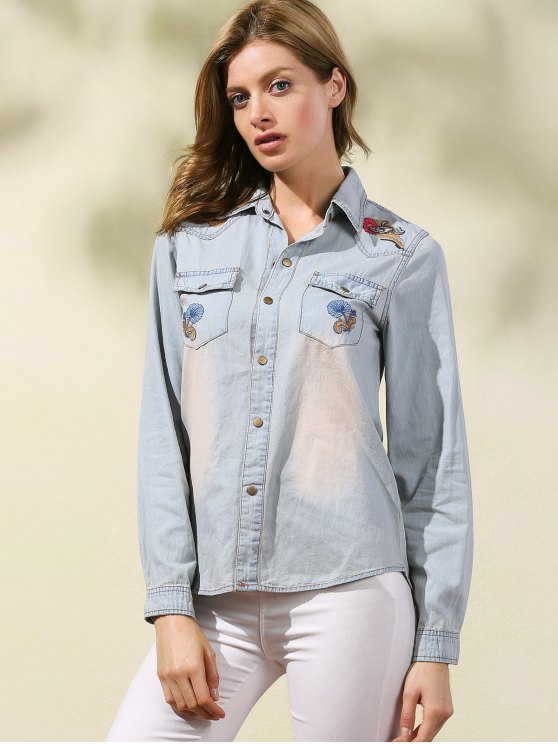 Embroidered Denim Overshirt - LIGHT BLUE L Mobile