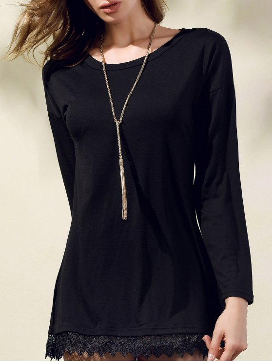shop Lacework Splicing Round Collar 3/4 Sleeve Black Dress - BLACK S