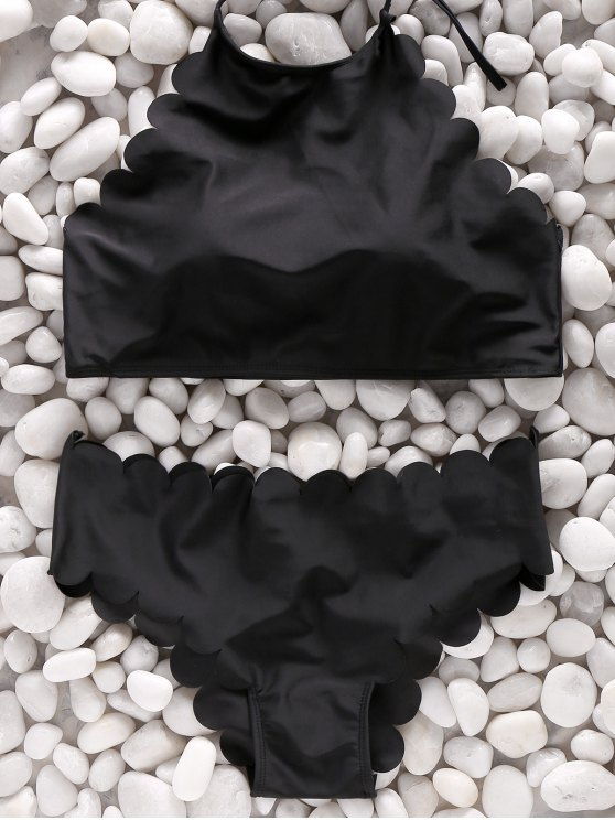 womens Two Piece High Neck Scalloped Swimsuit - BLACK M