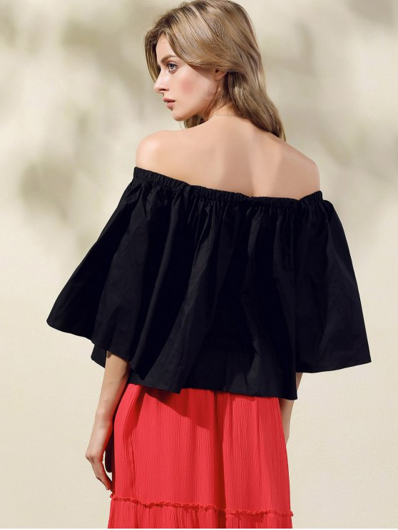 Off-The-Shoulder Crop Top - BLACK ONE SIZE(FIT SIZE XS TO M) Mobile