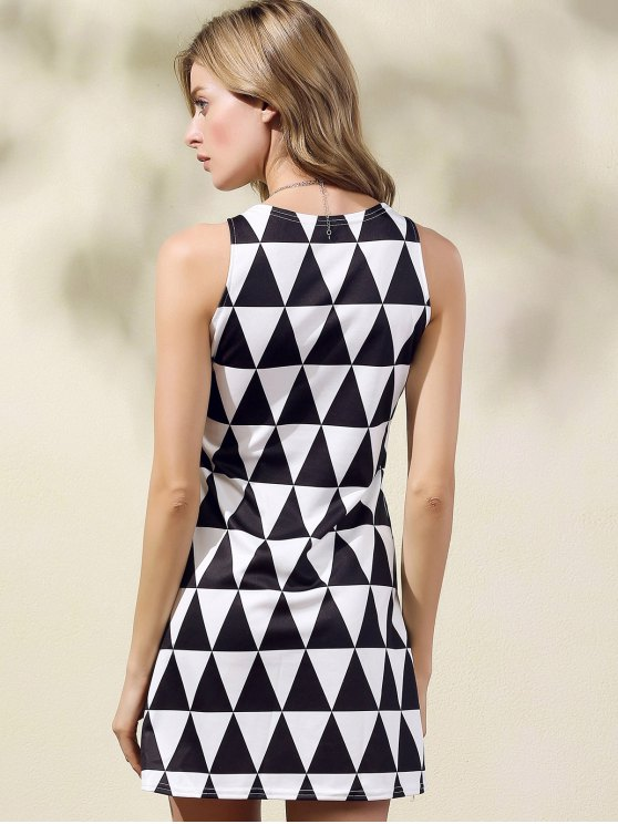Geometric Pattern Round Collar Sleeveless Dress - WHITE AND BLACK S Mobile