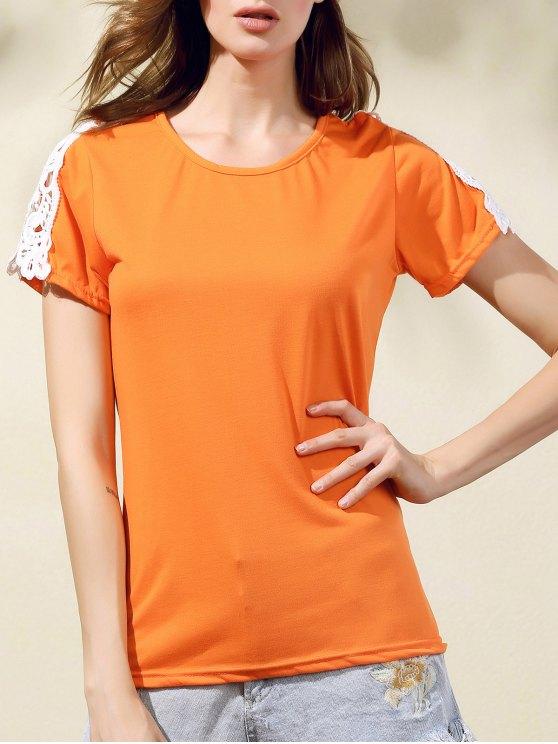 Laçage Col rond épissage manches courtes T-shirt - Tangerine S