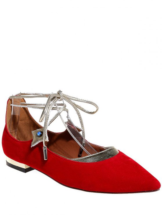 Pointed Toe Flock Lace-Up Flat Shoes - RED 39 Mobile