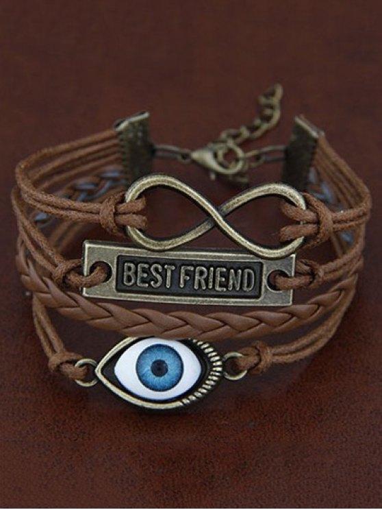 Infinite Nameplate Eye Layered Bracelet - BROWN  Mobile