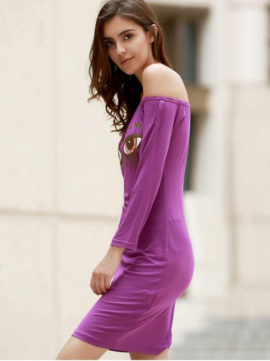 Off-The-Shoulder Eye Print Bodycon Dress - PURPLE L Mobile