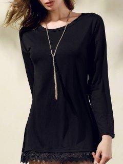 Lacework Splicing Round Collar 3/4 Sleeve Black Dress - Black S