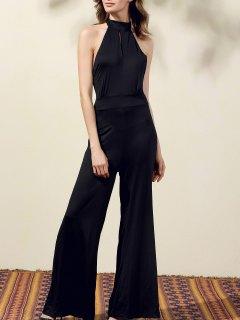 Black Halter Wide Leg Jumpsuit - Black Xl