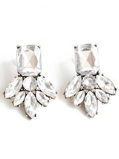 Rhinestone Brief Stud Earrings - White