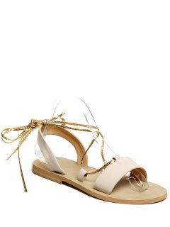 Flat Heel Lace-Up Sandals - Off-white 36