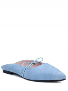 Pointed Toe Bowknot Solid Color Sandals - Light Blue 36