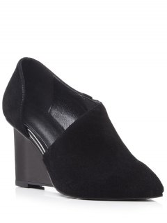 Cut Out Solid Color Wedge Shoes - Black 36