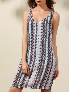 Argyle Print Plunging Neck Sleeveless Dress - S