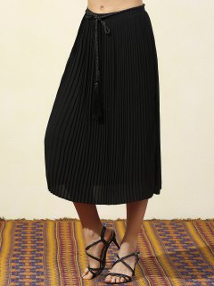 Pleated Black Chiffon Skirt - Black S