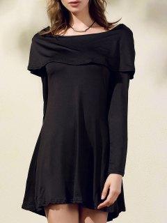 الأسود قبالة الكتف قارب عنق طويل كم فستان - أسود S