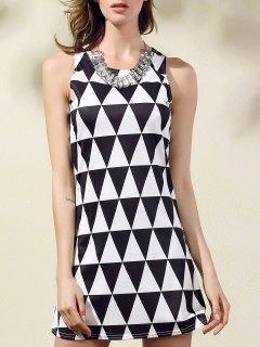Geometric Pattern Round Collar Sleeveless Dress - White And Black L
