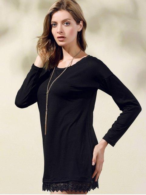 shop Lacework Splicing Round Collar 3/4 Sleeve Black Dress - BLACK S Mobile
